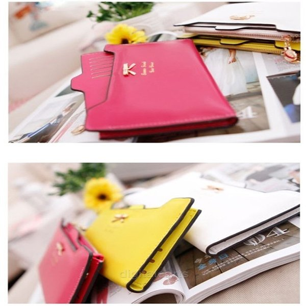 Women Candy Color Wallet Card Holder Purse