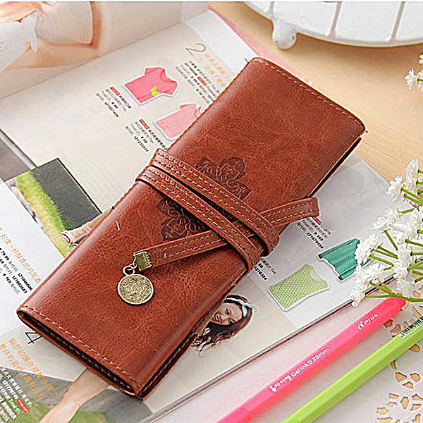 Vintage Stylish School Badge Folding Leather Pencil Case Cosmetic Bag