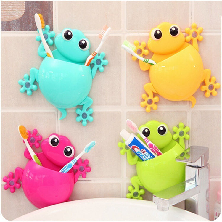 1PC Animal Frog Silicone Toothbrush Holder Family Set Wall Bathroom Hanger Suction