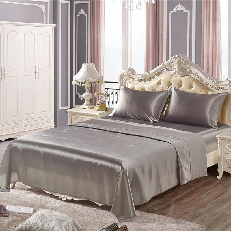 4PCS Imitation Silk Bedding Sets Home Textile Bed Set