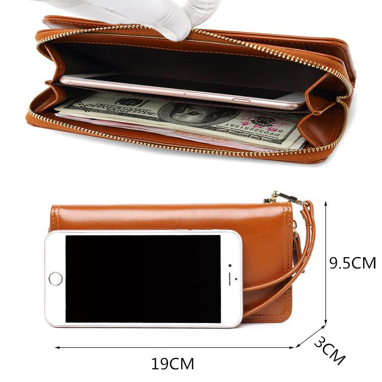 Women Three Fold Multi-Card Holder Oil Wax Leather Phone Purse Wallet
