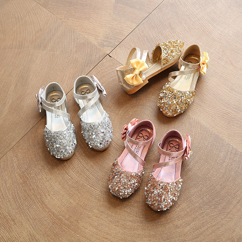 Baby Girls Shoes Princess Sequins Bow Sandals Slippers Shoes