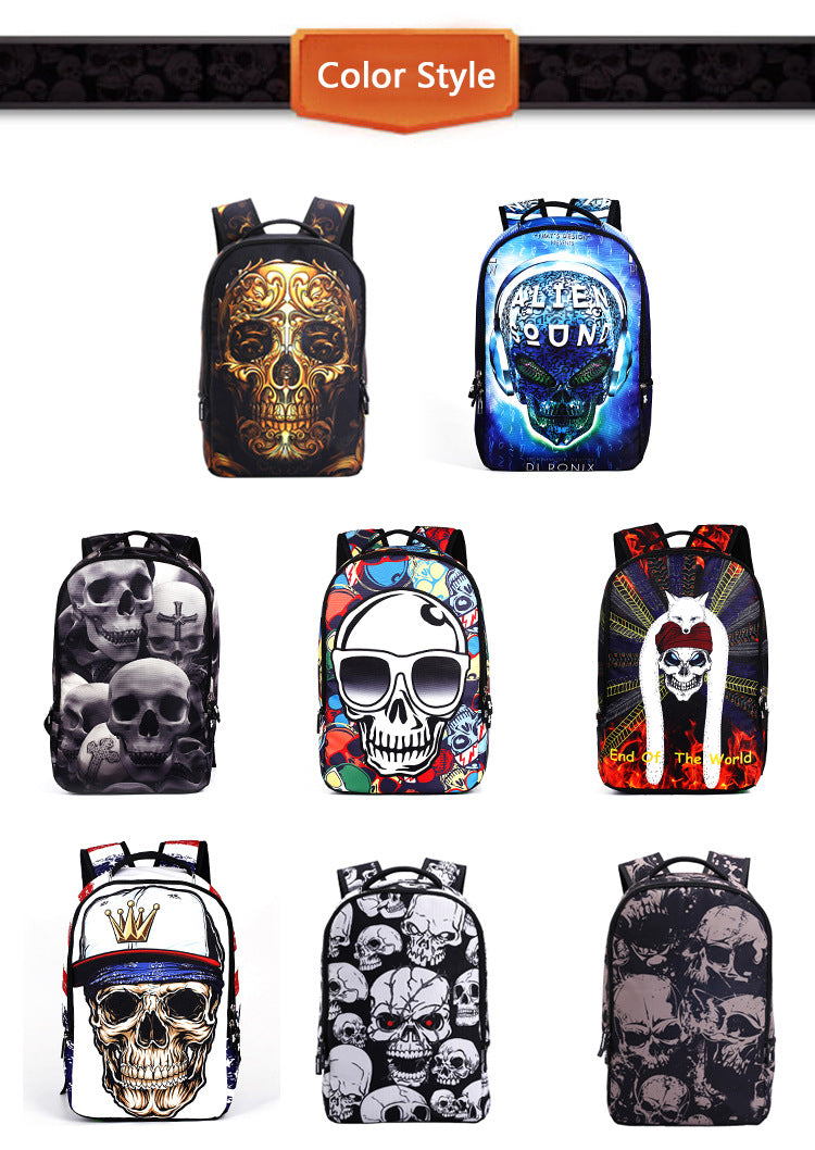 Men Women Outdoor Travel Skull Pattern Polyester Multi-functional Shoulders Bag Backpack