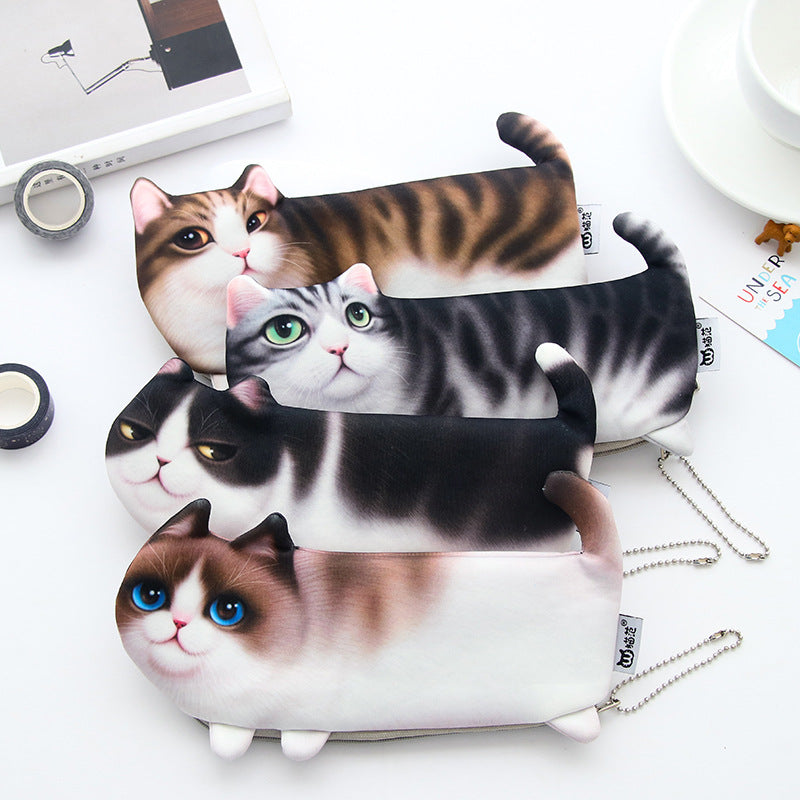 Creative Cute Cat Pencil Case Simulation Printing Cat Stationery Box Pencil Storage Bag Student Supplies