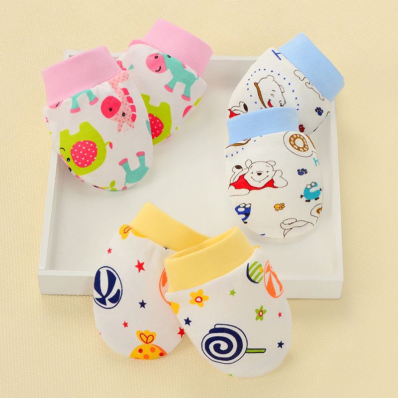 Cartoon Pattern Newborn Baby Anti-scratch Cotton Gloves Baby Hand Protection 0-6M