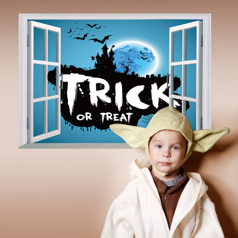 3D Creative Wall Sticker Halloween Theme Trick or Treat Removable Wall Sticker Home Decor