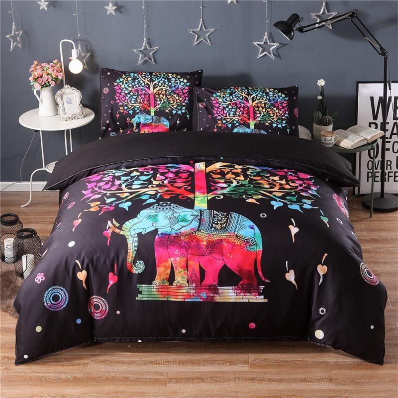 3Pcs Fashionable 3D Elephant Pattern Bedding Sets Duvet Cover Fitted Bed Pillowcase Twin Queen King