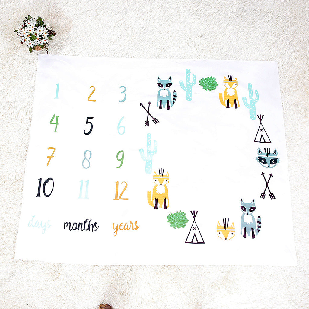 Colorful Number Letter Fox Pattern Baby Blanket 100cm x 100cm