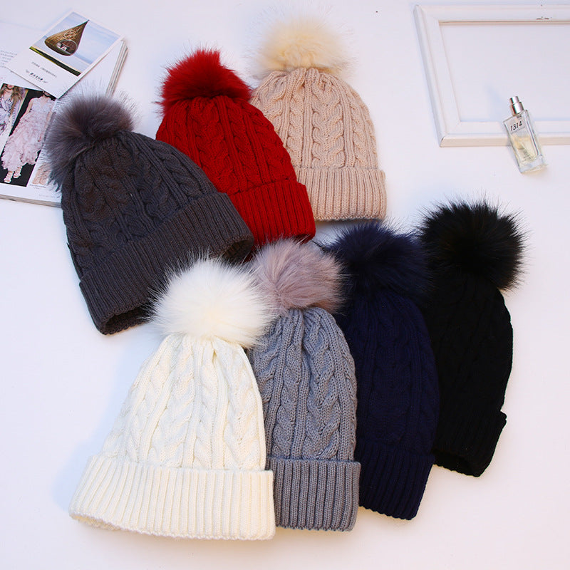 Womens Girls Winter Velvet Double Woolen Outdoor Knitted Fur Hat