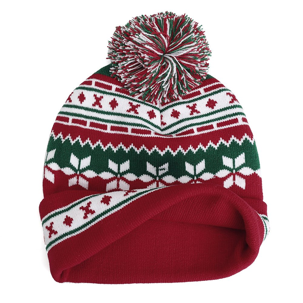 Winter Christmas Knitted Santa Claus Hat Soft Snowflake Beanie Hat Halloween Gift