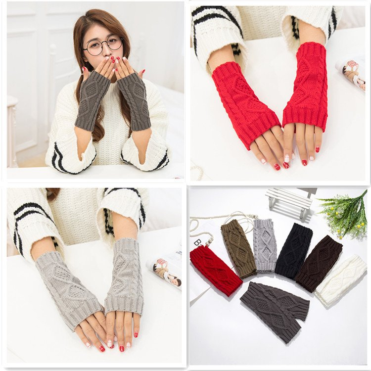 New Men Women Arm Winter Warmer Fingerless Knitted Long Gloves Cute Mittens