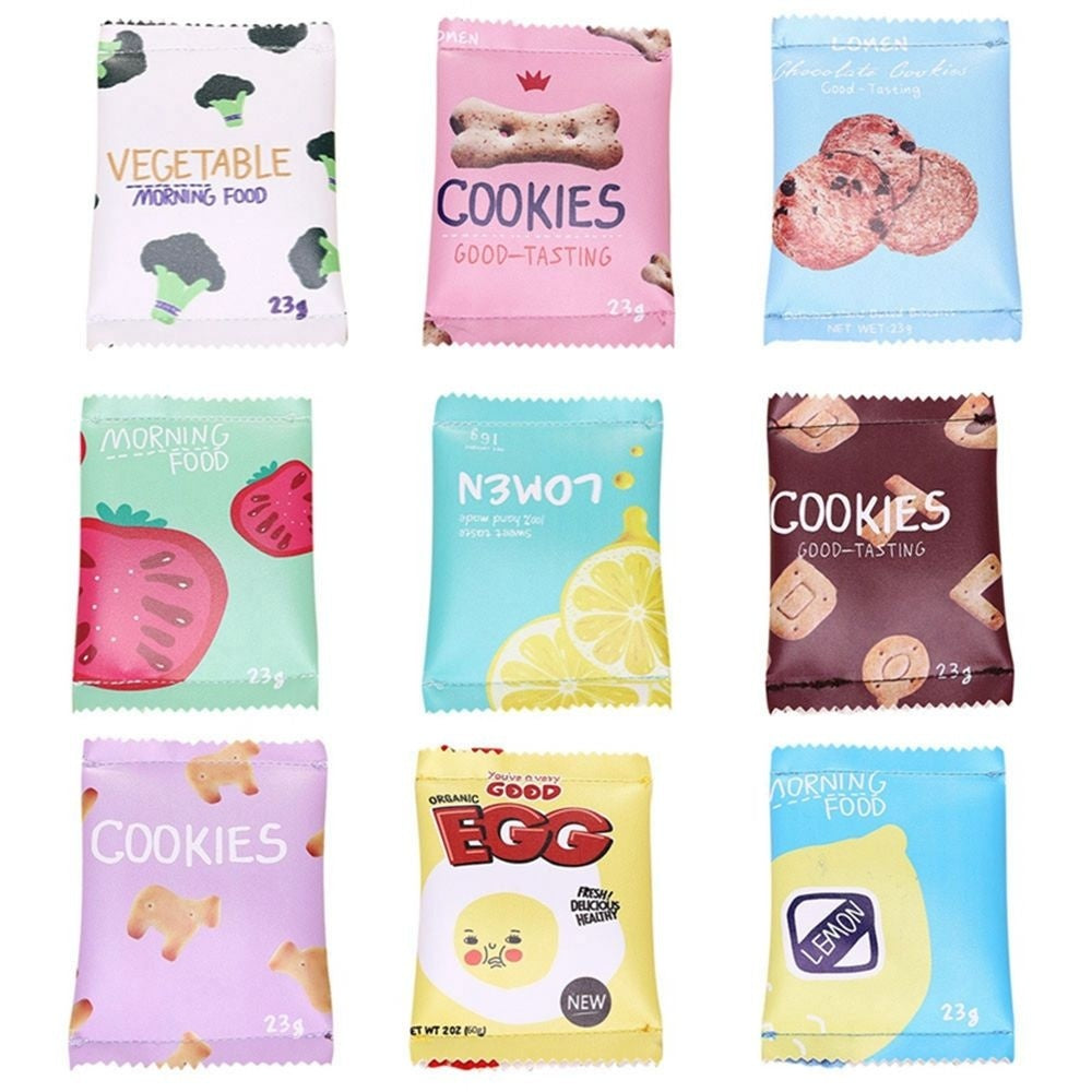 Kawaii Fashion Snacks Print PU Zipper Pouch Coin Wallet Key Card Holder Money Bag