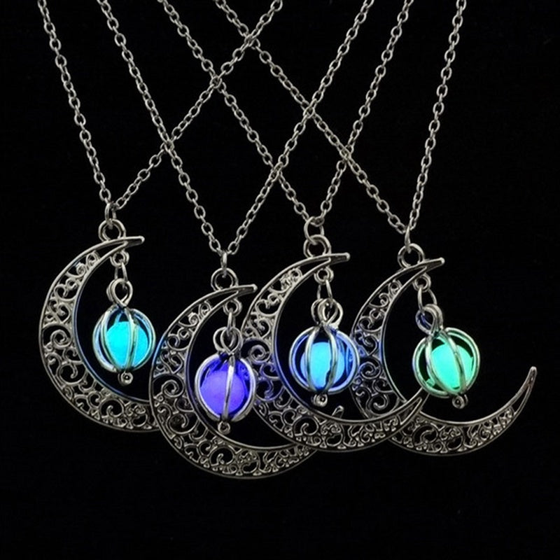 Moon Glowing Turquoise Charm Jewelry Necklace Pendant Halloween Gifts