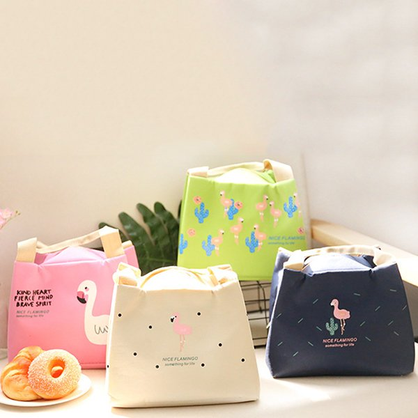 Flamingo Insulation Lunch Box Bag Shopping Tote Bag