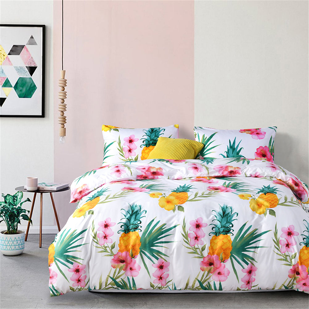 3Pcs Luxury Pineapple Print Duvet Quilt Cover Bedding Set Twin Queen King Size
