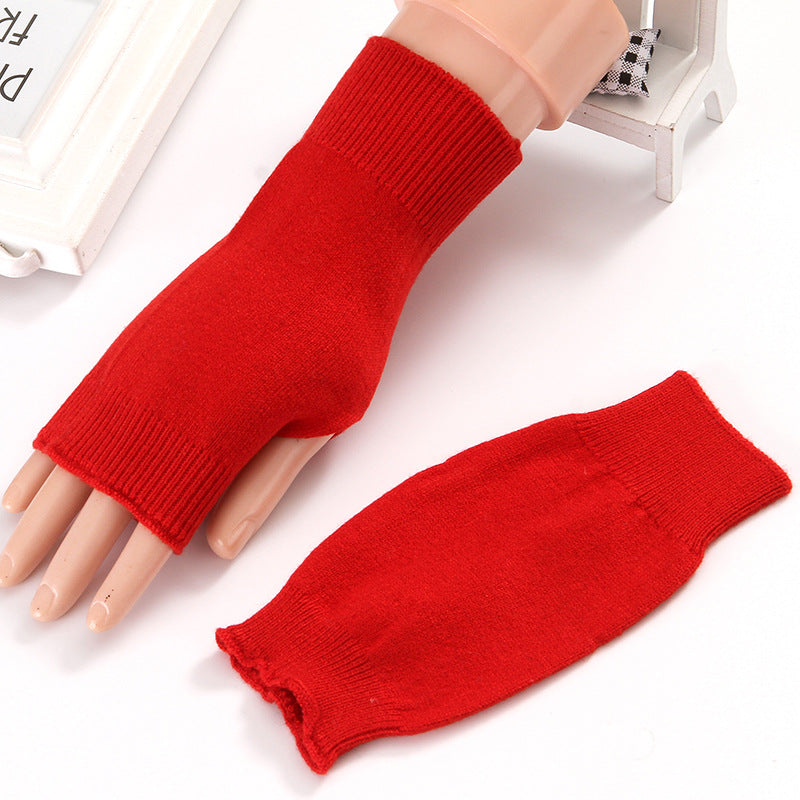 Winter Autumn Knitted Thicken Warm Glove Fashion Wool Fingerless Short Thicken Gloves Mittens For Women Men