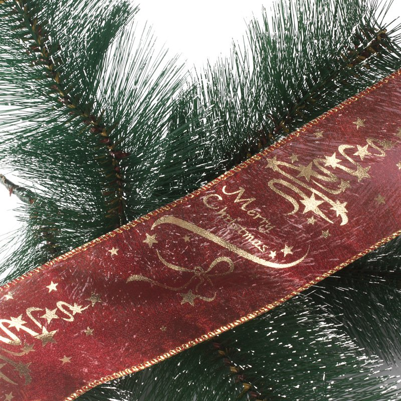 6.3*200cm Red Gold Printed Christmas Tree Decoration Ribbon Christmas Tree Decorations
