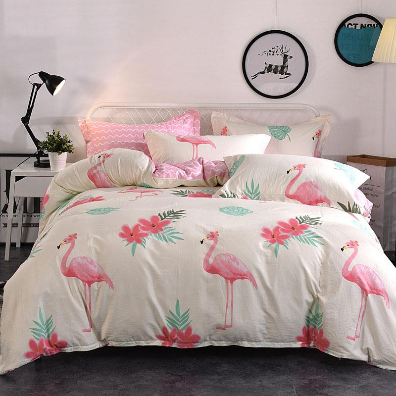 3Pcs Luxury Flamingo Print Design Duvet Set Quilt Cover Bedding Single Double Queen Full Twin Size