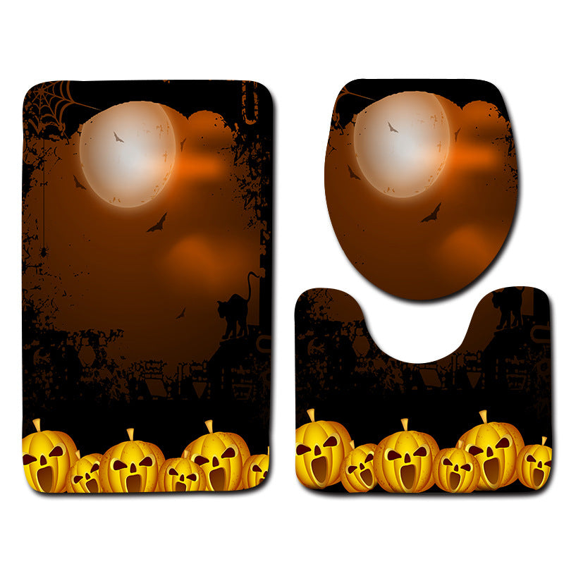 Halloween Toilet Cover Rug Set Non-slip Bathroom Floor Mat