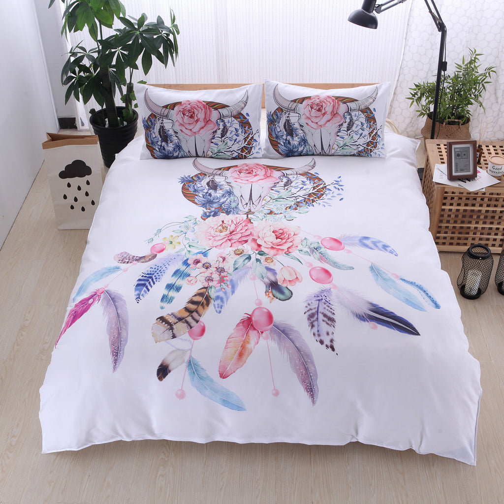 3Pcs Fashionable 3D Pattern Bedding Sets Duvet Cover Fitted Bed Pillowcase Twin Queen King