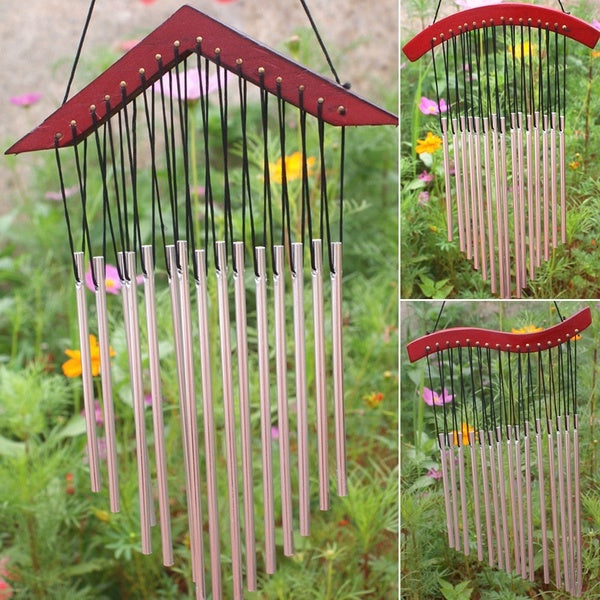 15 Tubes Wind Chimes Healing Sound Wood Wind Chime Home Yard Garden Outdoor Living Decor