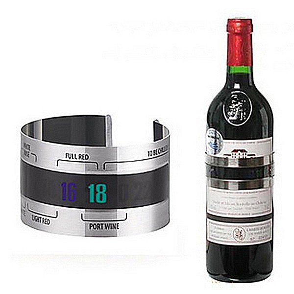 Stainless Steel Wine Bracelet Thermometer (4--24'C) Red Wine Temperature Sensor for Beer Homebrewing