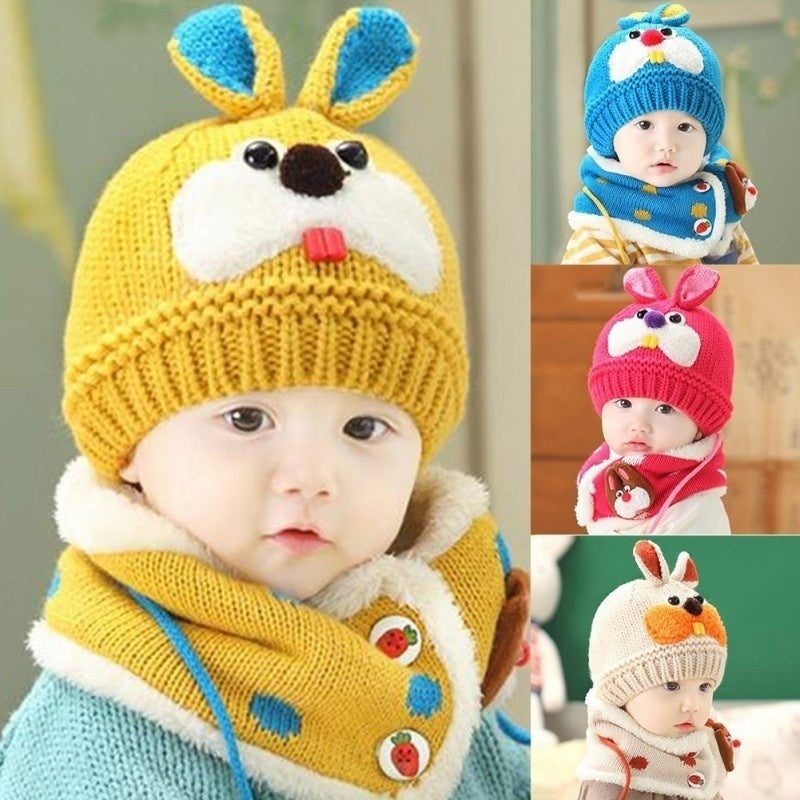 Baby Boy Girl Kid Rabbit Pattern Woolen Hat and Scarf Set Cap Collar Shawl for Winter Autumn