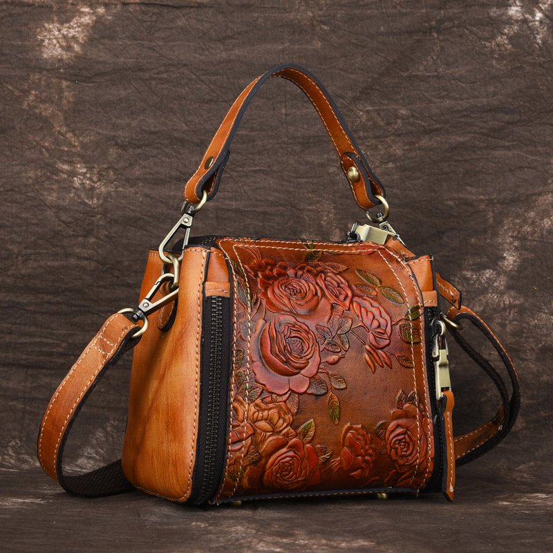 Brenice New Retro Genuine Leather Bucket Handbag Hand Embossed Craft Flower Crossbody bag