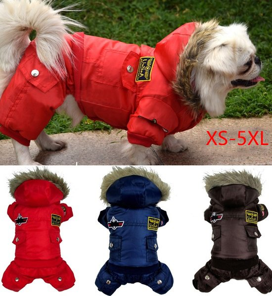Hot Sale Dog Winter Warm Thick Dog Pet Clothes Warm Coat Jacket Padded Hoodie For Large Small Dog S-5XL Jumpsuit Pants Apparel 3 Color 8 Size