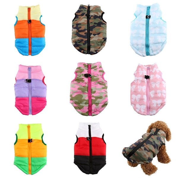 Pet Camouflage Bowknot Winter Fall Warm Cotton Cat Dog Clothes