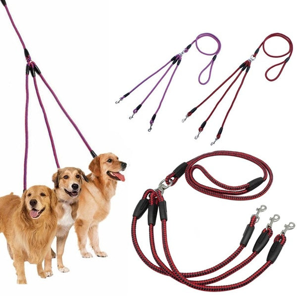 Fit For Small Medium Dogs Convenient Nylon Woven Traction Leash Pet Supplies Triple Pet Leashes Pet Collar 3 Way Couplers Rope Leash Lead Leash Puppy Rope Pet Leashes