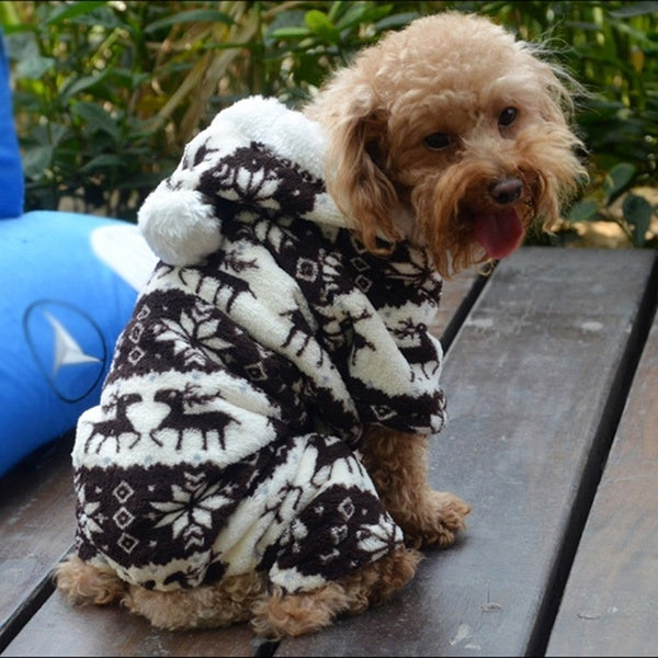 Winter Warm Pet Dog Cats Apparel Pajamas Hoodie Puppy Clothes Jumpsuits