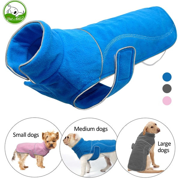 Soft Fleece Winter Dog Coat Jacket for Small Dogs Warm Puppy Large Dogs Vest Clothes Reflective Lining  S-5XL