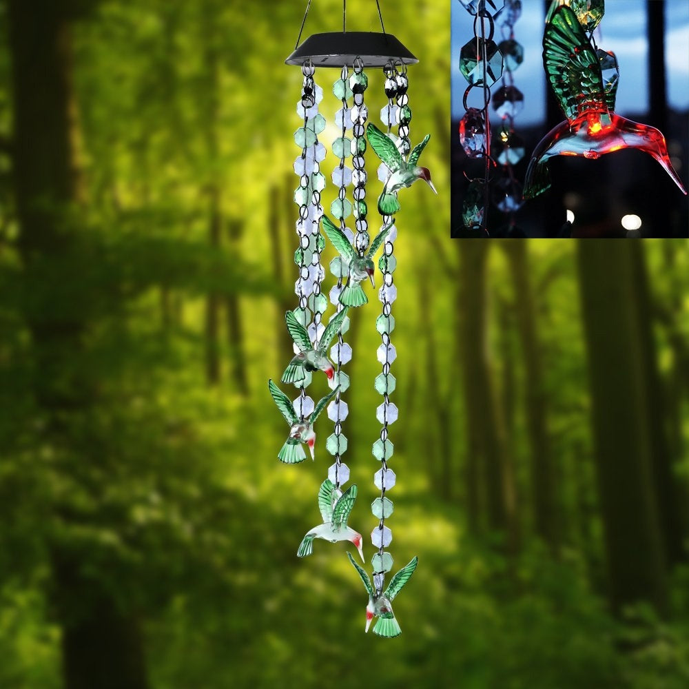 Waterproof Solar Powered Color Changing Hummingbird Wind Chime Lights Garden Ornament