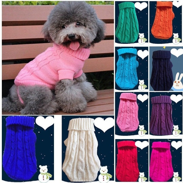 Pet Dog Cat Knitted Jumper Winter Warm Sweater Puppy Coat Jacket Clothes Costume NEW
