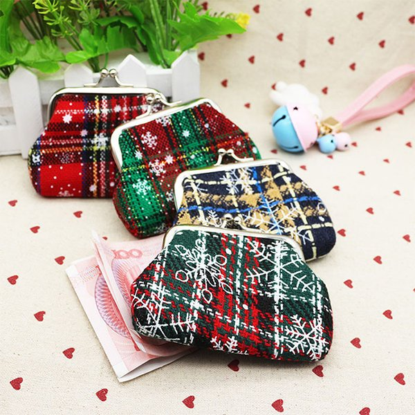 Christmas Plaid Coin Bag Coin Purse For Women