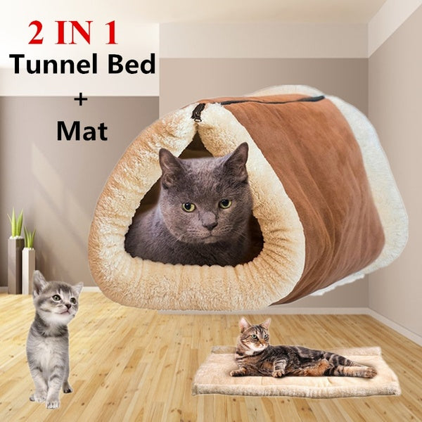 Cat Pet Bed Tunnel Fleece Tube Indoor Cushion Mat Pyramid Pad For Puppy Kitty Kennel Cushion