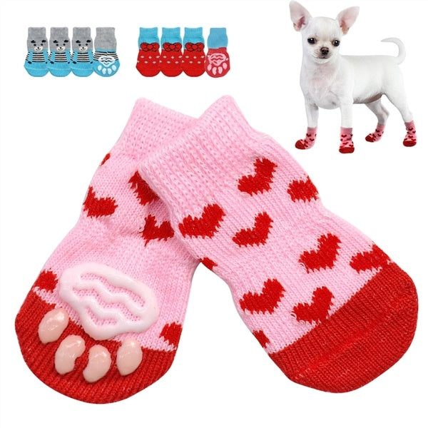 4Pcs/Pair Fashion Pet Dog Shoes Indoor Cotton Anti-Slip Knit Weave Sock Skid Bottom Warm Socks