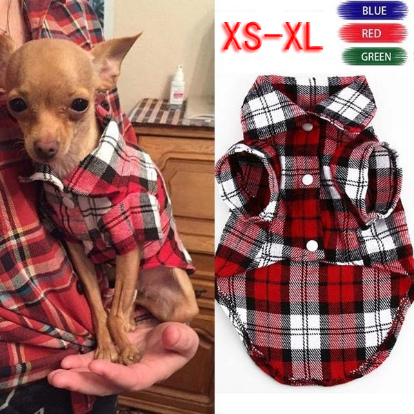 Pet Puppy Dog Shirt Vests Plaid Stripe Dogs Cotton Cloth Jacket