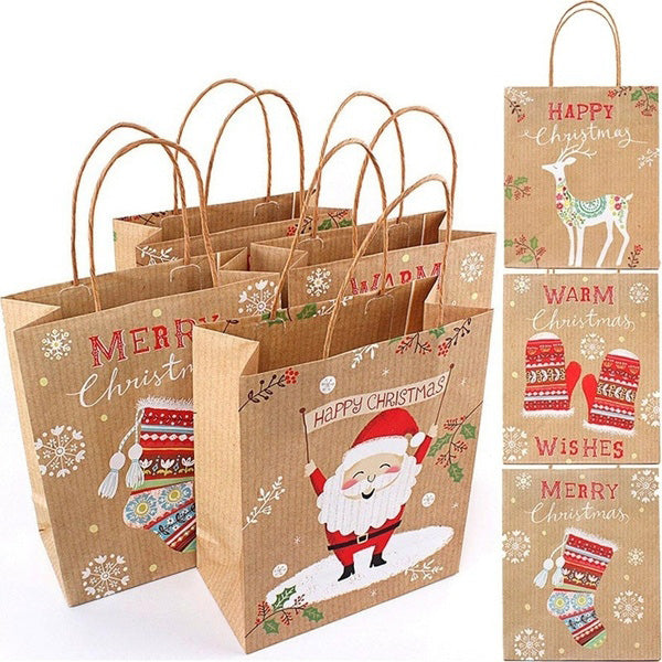 10 Pcs/Set Merry Christmas Kraft Paper Bag Gift Bags Candy Bag Christmas Party Supplies Each Random Shipment