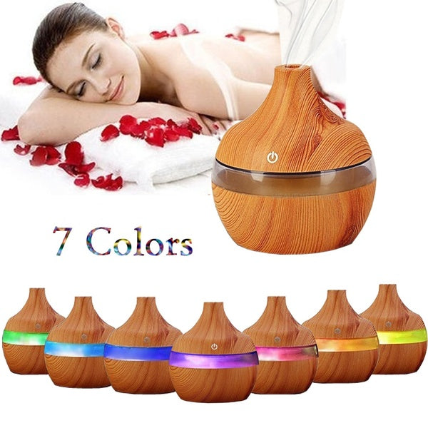 7 Color Nightlights Eletric Wood Grain Ultrasonic Essential Oil Diffuser Cool Moisture Aroma Humidifier Air Freshener