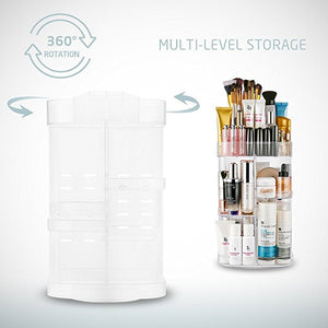Jerrybox Acrylic Makeup Organizer 360-Degree Rotating Cosmetic Transparent Organizer Adjustable Cosmetic Storage Box, Fits for Cosmetics