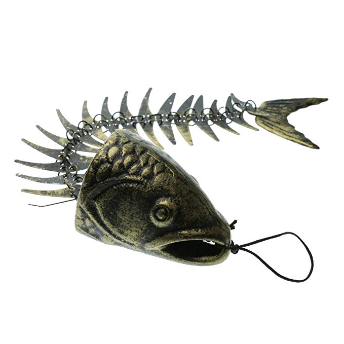Solid Cast Iron Fish Bone Large Creative Wind Chimes Hanging Decor Bell