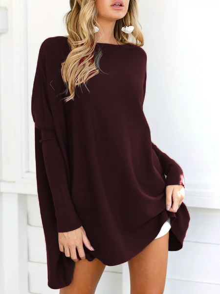 Casual Long Sleeve Crew Neck Solid Plus Size Knitted Sweater