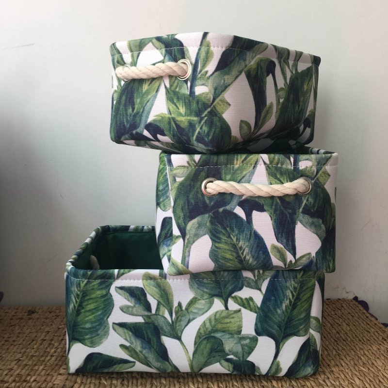 Foldable Nordic Flowers Leaves Storage Basket