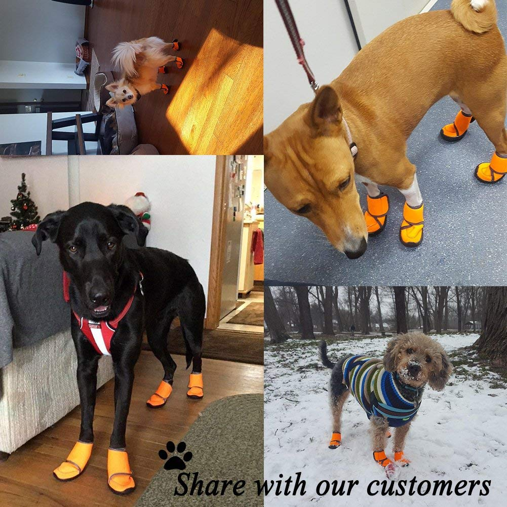 Waterproof Dog Shoes Fluorescent Orange Dog Boots Adjustable Straps and Rugged Anti-Slip Sole Paw Protectors