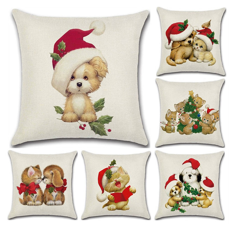 Christmas Decor Featival Cotton Linen Cushion Cover Cute Cat Dog Puppy Celebrate Pillowcase