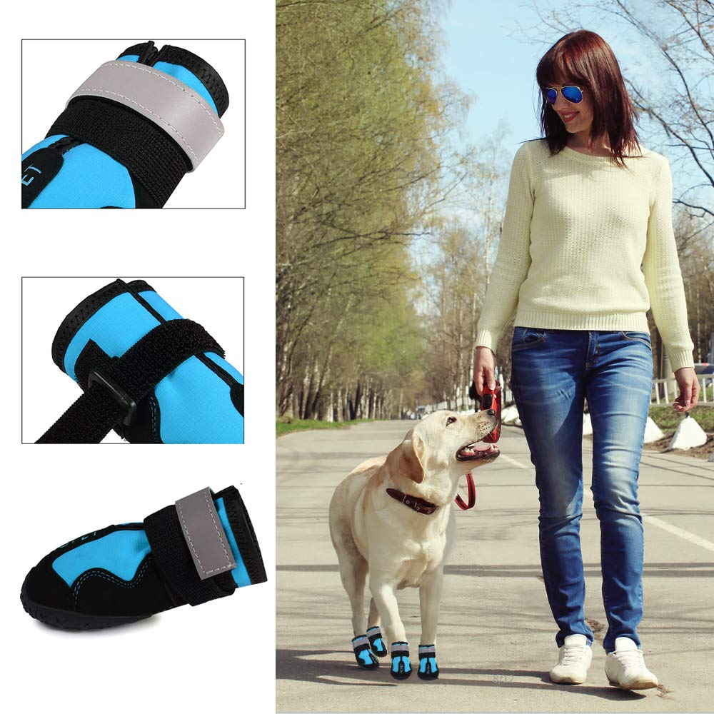 Dog Boots Waterproof Dog Shoes Reflective Strap & Rugged Anti-Slip Sole