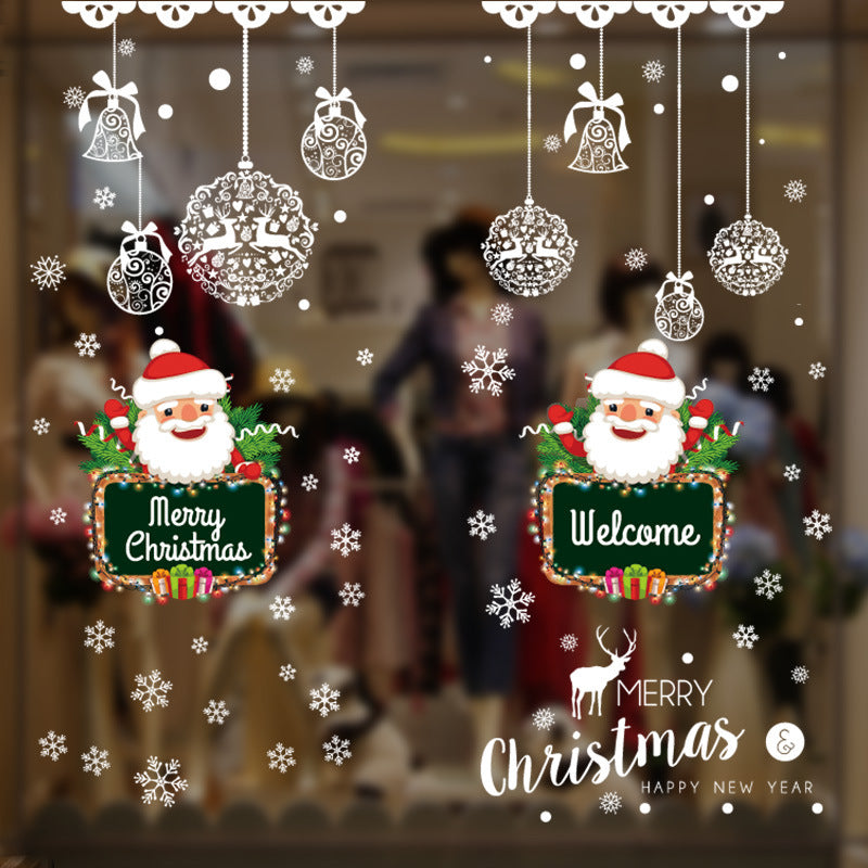 2Pcs Christmas Santa Claus Self-adhesive Wall Sticker Decals Decor