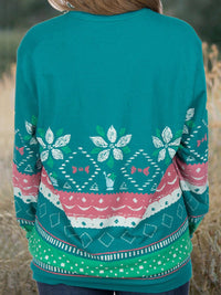 Tribal Printed Vintage Long Sleeve Crew Neck T-shirt